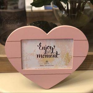Pink Heart Shaped Wood Frame